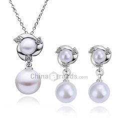 A Suit of Chic Women's Faux Pearl Pendant Necklace And Earrings   $5.99 on 68.51% off