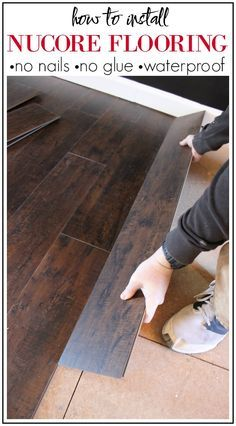 vinyl flooring How to install NuCore Flooring - no nails or glue required, installs over most existing floors and its completely waterproof. Vinyl Wood Flooring, Luxury Vinyl Flooring, Wood Vinyl, Luxury Vinyl Plank, Diy Flooring, Flooring Ideas, Inexpensive Flooring, Vinyl Planks, Ceramic Flooring