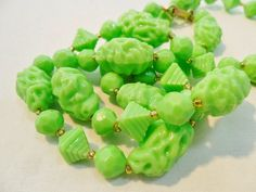 Vintage Green Necklace / Collar Lucite Signed HONG by KathiJanes