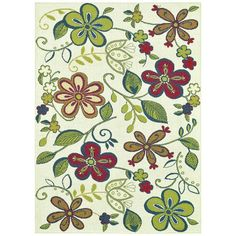 "I pinned this Blooms 5'2"" x 7'5"" Indoor/Outdoor Rug in Green from the Beverly Outdoor Rugs event at Joss and Main!"