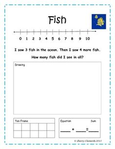Worksheets Kindergarten Addition Word Problem sentences numbers and organizers on pinterest addition word problems to solve with number line drawing ten frame equation