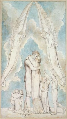 """William Blake: 'The Meeting of a Family in Heaven', from Robert Blair's """"The Grave"""", 1805, object 17. Pen, ink and water colors over traces of pencil on wove paper. Winterstein Collection, Munich, Germany"""