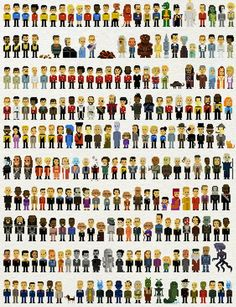 Star Trek 8-bit People - John Martz's Trexels poster contains a pixelated replica of two hundred and thirty-five characters from each Star Trek television show, quite a few of the movies, and, judging by that catgirl on the top row, Star Trek: The Animated Series.