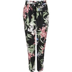 Oriental Floral Print Trouser ($25) ❤ liked on Polyvore featuring pants, bottoms, trousers, jeans, black, relaxed fit pants, slim trousers, cocktail pants, floral pants and floral print pants