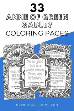 If you love the Anne of Green Gables books and TV series you will love these FREE printable coloring pages with quotes from the book. Coloring Pages | Quotes | Anne of Green Gables | LM Montgomery | Coloring Book Printable Coloring Printable Quotes, Printable Wall Art, Lm Montgomery, Big Words, Make Up Your Mind, Anne Of Green Gables, Free Printable Coloring Pages, Coloring Books, Quote Coloring Pages