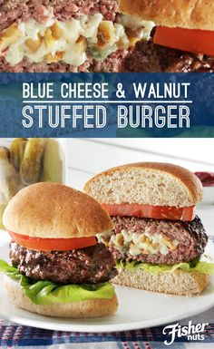 Surprise your guests at your next barbecue by making Blue Cheese & Walnut Stuffed Burgers. Melted blue cheese and crunchy Fisher Walnuts bring this traditional BBQ food over the top.