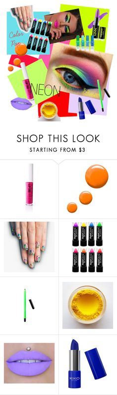 """Neon color pop (for contest)"" by nineofhearts ❤ liked on Polyvore featuring beauty, Obsessive Compulsive Cosmetics, Topshop, alfa.K and NYX"