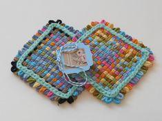 Two woven potholders or two extra large coasters, royal mermaid castle decor, alpaca yarn, American cotton,  fiber art
