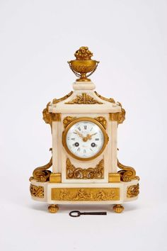 Perfect A Table Clock Louis XVI style white marble case with gilt chiselled bronze