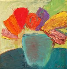 Vased Flowers | 9: Fauvist Modern Milton Avery Primitive Naive Art Abstracted Landscapes Stilllifes : JILL FINSEN PAINTINGS