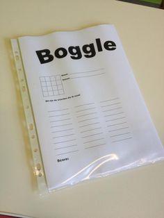 Boggle aan het bord (werkblad): SNELLER KLAAR