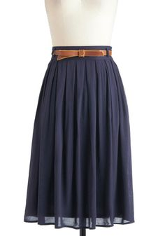 Swishy dark blue skirt with cream top. Light blue silk sash?   Porch Swing Dance Skirt, #ModCloth