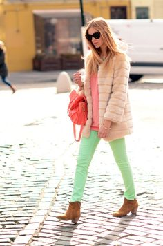 Pastel look mixed with fur jacket gives off an ultra chic look. # Pastel #SpringTrend