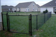 Black Chain Link fence - for our dog yard Chain Link Fence Cost, Black Chain Link Fence, Chain Fence, Backyard Fences, Fenced In Yard, Patio Decks, Backyard Plan, Garden Fencing, Diy Dog Fence
