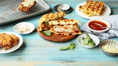 Why are you still using sliced bread for your sandwiches?  Save the recipe for Chicken Parmesan Waffle Sandwiches 👍 Waffle Recipes, Sandwich Recipes, Fried Chicken And Waffles, Low Carb Chicken Parmesan, Delicious Sandwiches, Savoury Dishes, Kitchen Recipes, Cooking, Chicken Recipes