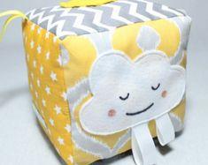 Baby Block / Sensory ribbon toy / Soft fabric Block by PopelineCo