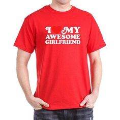 CafePress Big Men's I Love My Awesome Girlfriend T-Shirt, Size: 3XL, Red