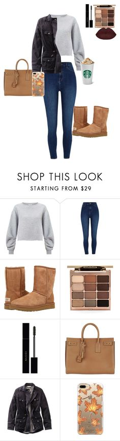 """Missing Fall"" by kalliewallie06 ❤ liked on Polyvore featuring Miss Selfridge, River Island, UGG Australia, Stila, Gucci, Yves Saint Laurent, L.L.Bean and Casetify"