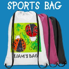 Drawstring Sports Bag with your child's artwork. Personalize it for easy identification on the soccer field.