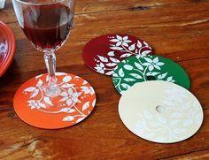 Posavasos con cds reciclados
