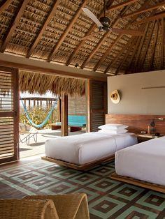 Les 51 nouveaux hôtels les plus remarquables 19 Bamboo House Design, Tropical House Design, Tropical Beach Houses, Hut House, Bali House, Bamboo Architecture, Beach Bungalows, Suites, House In The Woods