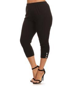 Another great find on #zulily! Black Button-Hem Capri Leggings - Plus #zulilyfinds