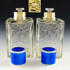 Pair of Antique French Sterling Silver Blue Guilloche Enamel Cut Crystal Perfume or Cologne Bottles