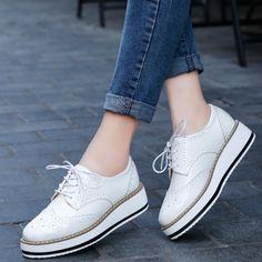 timeless design e333f cd6a3 White Platform Lace Up Oxford Shoes