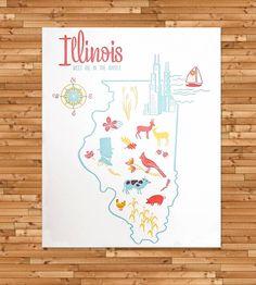 Vintage-Inspired Illinois Map Print
