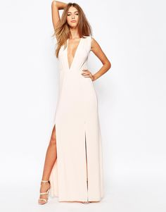 Image 4 ofMissguided Slinky Plunge Sleeveless Maxi Dress