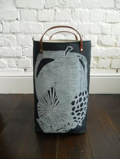 Indigo hamper with leather handles Fruit Cluster by papatotoro, $65.00