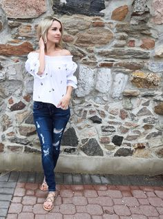 Spring outfit, Zara flower off the shoulder top, distressed Guess denim, beaded gladiator sandals, blogger style