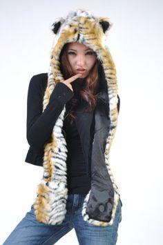 Tiger Full Animal Hood Hoodie Hat Faux Fur 3 « Clothing Impulse