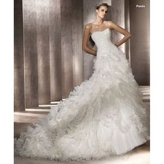 long wedding dresses | ... Full Cascading Ruffle Chapel Train Organza Long Wedding Dress