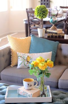 Let the Sunshine In! Decorate for Spring with Pops of Yellow | will warmer weather and sunshine to arrive with playful bright touches throughout the living space.