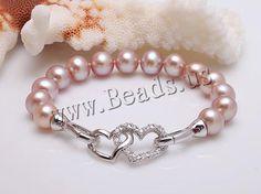 Pulseras de Perlas Freshwater, Perlas cultivadas de agua dulce, plata esterlina cierre, con diamantes de imitación, Púrpura, 9-10mm, Vendido para aproximado 7 Inch Sarta - beads.us