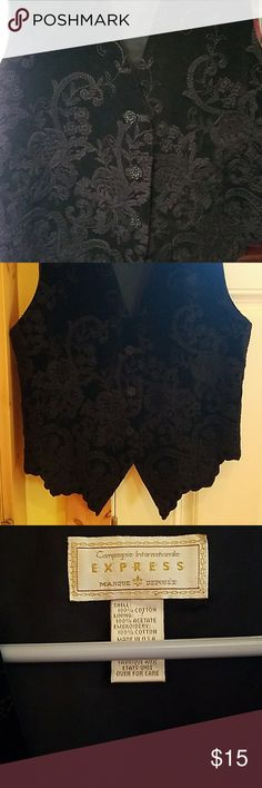 womens  vest Beautifully embroided women's black vest. That feels and looks like velvet. Lovely buttons they're like tiny little flowers. Fits like a small . Express Tops