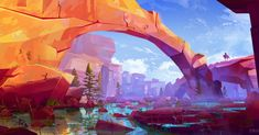 Discover The Art of Quentin Marsollier, a French Concept Artist & Illustrator Student Landscape Concept, Fantasy Landscape, Landscape Art, Environment Concept, Environment Design, Fantasy Kunst, Fantasy Art, Digital Art Fantasy, Art Environnemental