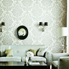 love this grey flocked wall paper. beautiful but neutral.