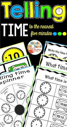 Telling time activities to the nearest five minutes! If you're teaching time, these activities and worksheets are perfect for and grade. Telling Time Activities, Teaching Time, Teaching French, Educational Activities, Fun Activities, Primary Classroom, Classroom Ideas, First Grade Math, Teaching Strategies