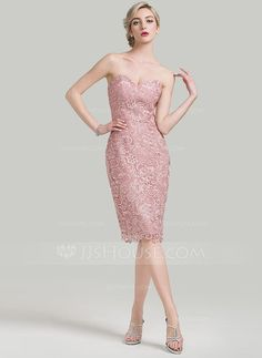 Sheath/Column Sweetheart Knee-Length Lace Mother of the Bride Dress (008085274) - JJsHouse