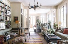 One of the biggest challenges of decorating her new apartment was arranging furniture without a fireplace as a focal point, but the two large rooms ended up flowing together perfectly.