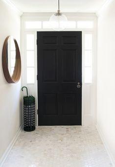 Marble Floor Tile, Mirror, Umbrella, and Black Door in entryway Entry Way Design, Black Front Doors, Entry Hallway, Black Doors, Interior, Marble Tile Floor, Entryway Flooring, Interior Styling, Entry Tile