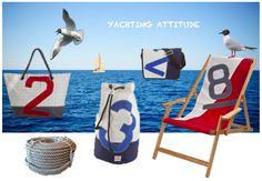 YACHTING ATTITUDE !  Des sacs et du mobilier extérieur à l'esprit marin, des créations à partir de voiles recyclées (Dacron, fibres de carbone, toile de spi), mariées à du coton, du cuir ou du bois. Actuellement chez Prism Art & design Store.