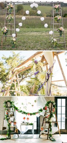 Ideas para decorar bodas con escaleras vintage
