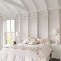 You can't go wrong with white-on-white! This airy #farmhouse #bedroom has us feeling country-cottage chic. : @teamkmid #LinkinProfile #cottagestyle #decor