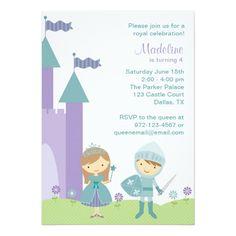 Twins Birthday Party Invitations Princess and Knight Invitations