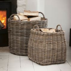 Tapered Rattan Log Basket by all things Brighton beautiful, the perfect gift for Explore more unique gifts in our curated marketplace. Living Room Storage, Home Living Room, Wood Storage, Storage Baskets, Firewood Basket, Blanket Basket, Upcycled Home Decor, Porch Decorating, Wicker Baskets