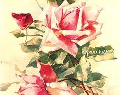 PRINT FREE SHIP Vintage Pink Roses Catherine Klein Half Yard Long