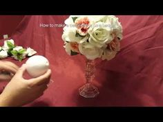 How to Make a Tall Vase Centerpiece with White Hydrangea and Roses - YouTube